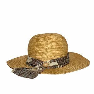 Liz Claiborne Straw Scarf Bead Sun Hat